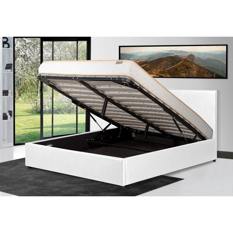 lit coffre matelas beau lit coffre concernant legend lit coffre gris liser blanc led matelas a. Black Bedroom Furniture Sets. Home Design Ideas